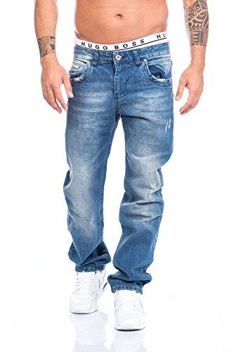 Rock Creek Herren Designer Jeans Wachsbeschichtung Coated Stonewash [LL-2520 - Blau - W30 L30] (Stonewash-bequeme Passform-jeans)