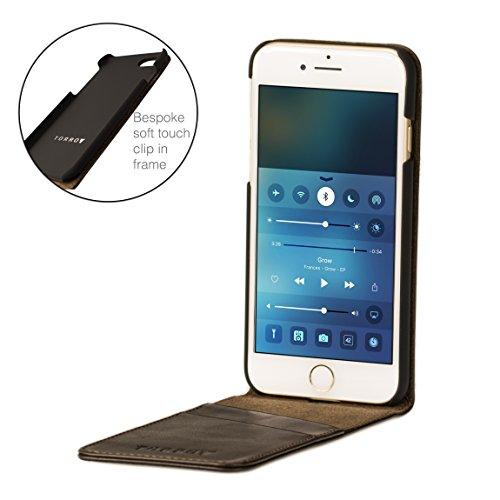 iPhone 8 / iPhone 7 Hülle. Echtleder Flip Case für iPhone 8 / iPhone 7, Schwarz von TORRO Dunkelbraun