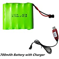 Crazepony-UK NI-MH Battery 6v 700mAh High Capacity Spare Battery Pack with SM 2P Plug Connector with USB Charging Cable for Remote Control Rc Car, Electric Toys and Vehicles