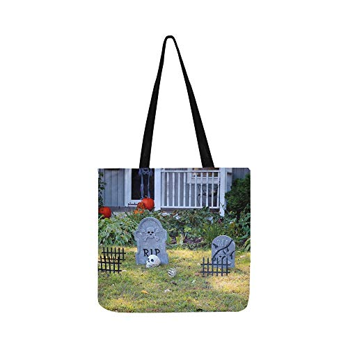 Halloween Outdoor Dekoration Vorgarten Private Canvas Tote Handtasche Umhängetasche Crossbody Taschen Geldbörsen Für Männer Und Frauen Einkaufstasche