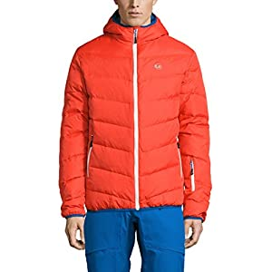 Ultrasport Men's Advanced Snowboard Down Jacket Mylo, Ski Jacket, Orange/Victoria Blue, L
