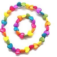 Lovely H Stone Childrens Jewellery necklace Kids Little Girls Heart Shaped Necklace Bracelet Set Toddler Dress up Jewelry (Heart Shaped)