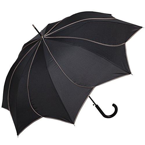 VON LILIENFELD Regenschirm Damen Sonnenschirm Automatik Blütenform: Minou schwarz graue Ziernähte