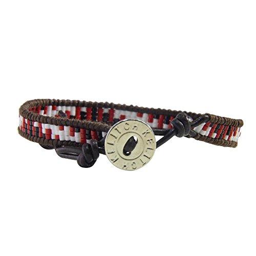 KELITCH Bohémien Geometric Motif Perles de Rocaille Tissés à la main Cuir Bracelet Spirale-Rouge