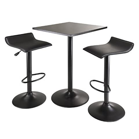 Winsome Obsidian 3-Piece Table Set with Square Counter Height Table and 2-Airlift Stools, Black by Winsome Trading, Inc.