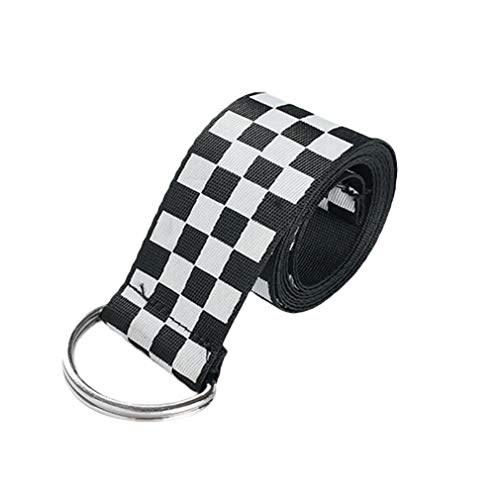 Mxssi Cintura Donna - Vintage Scacchiera Cintura Doppio Anello a D Cintura in Tela Regolabile per Jeans Vestito Taglia Unica 135cm*3.7cm