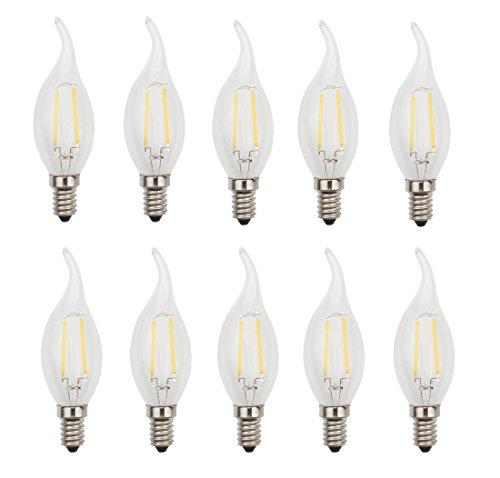 JCKing (Packung mit 10) AC 220V 2W E14 Dimmbare LED Glühbirne Kerze Flamme Spitze LED Glühbirne, LED Vintage Antike Kronleuchter Licht Warm Weiß 2700K