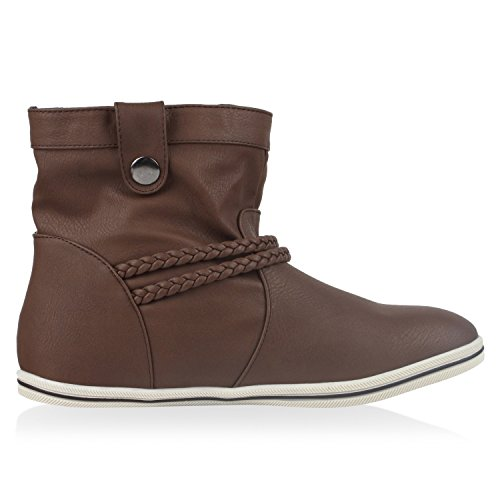 Sportliche Damen Stiefeletten Stiefel Flache Boots High & Low Top Braun Low