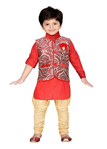 AJ Dezines Kids Kurta Pyjama Waistcoat Set for Boys (639_RED_8)