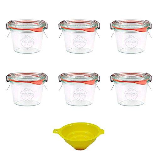 Viva Haushaltswaren 6 x kleines Weckglas/Einmachglas 80 ml mit Deckel in Sturzform, leeres Rundrandglas zum Einkochen - als Marmeladenglas, Dessertglas (inkl. Klammern, Ringen & Trichter) (Trichter Ring)