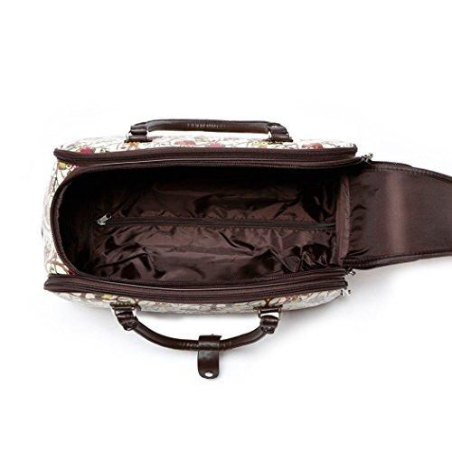LeahWard Frauen Girl's Holdall Faux Leder Gepäck Tasche Hand Gepäck Reise Koffer Urlaub Taschen CW01 (S Schwarz Eule) S Beige Eule