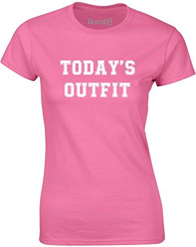 Brand88 - Today's Outfit, Gedruckt Frauen T-Shirt Azalee/Weiß