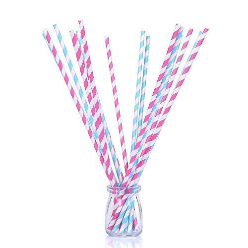 100Zählen 33cm Super Lang Dual Farbe Papier Trinkhalme von Blau und Rosa Streifen-Savvy, elegant und geschmackvolle für Hochzeiten, Parteien und Basteln -