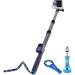 Smatree S2C Bastone Selfie Monopiede Telescopico Allungabile in Fibra di Carbonio per GoPro Hero 2018, Hero 6/5/4/3+/3/2/1/ Fusion/ Session (telecomando WiFi NON incluso)