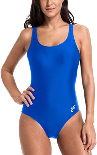Attraco Damen Sport-Badeanzug Sport-Badeanzug Racerback Training Bademode - Blau - Medium