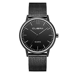 Lucky mall Herren Edelstahl Mesh Armband Uhren Männer Geschäfts Klassisch Analog Quarz Dünn Armbanduhr Gents Luxus Elegant Kleid Schwarz Uhr mit Schwarz Zifferblat