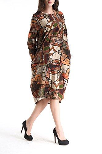 ELLAZHU Femme Midi Robe Cotton&Linen Bohémien Imprime Taille unique GY272 SZ275 Marron
