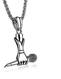 AIMIXU Punk marée créative Hommes et Femmes Chanteur Mini Microphone à Main  Microphone Collier Rock Hip f9f5de810eb