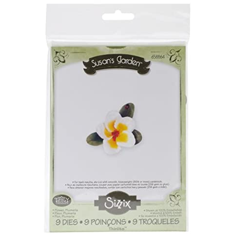 Sizzi Thinlits Die Set Flower Plumeria by Susan Tierney-Cockburn, Pack of 9, Multi-Colour