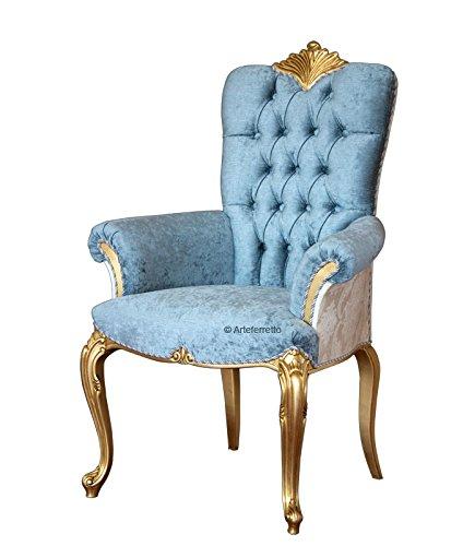 Artigiani Veneti Riuniti Lehnstuhl aus Blattgold mit gepolsterten Armlehne, Sessel au Holz mit Goldblatt, gepolsterte Rücklehne mit Knöpfen, Elegante Einrichtung im Stil -