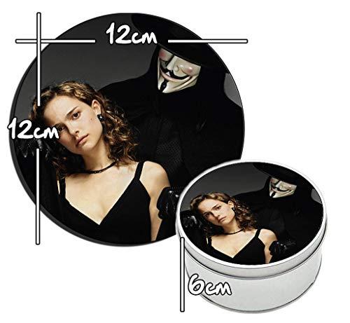 MasTazas V De Vendetta V for Vendetta Natalie Portman Runde Metalldose aus Zinn Round Metal Tin Box
