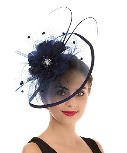 Lucky Leaf Fascinators Hut Blume Mesh Bänder Federn auf einem Stirnband und einem geteilten Clip Cocktail Tea Party Hochzeit Kirche Headwear für Mädchen und Frauen Braut(1-8-Marineblau)