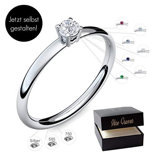 Verlobungsring Silber 925 Weißgold 585 750 PERSONALISIERT + ETUI mit individueller GRAVUR Damen-Ring Heiratsantrag Diamant-Ring Zirkonia Aquamarin Rubin Smaragd Saphir Brillant Blautopas Edelstein