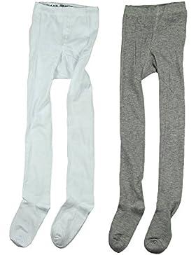 Mala 2er Pack Kinder Mädchen Winter Strumpfhose, Alter 9-11 Jahre, Größe: 140/146, Farbe: Grau und Weiß, 4264