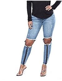 MYX Femmes Skinny Jeans Zipper Design Délavé Déchiré Boyfriend Denim  Pantalon Pantalon 927f773e31c4