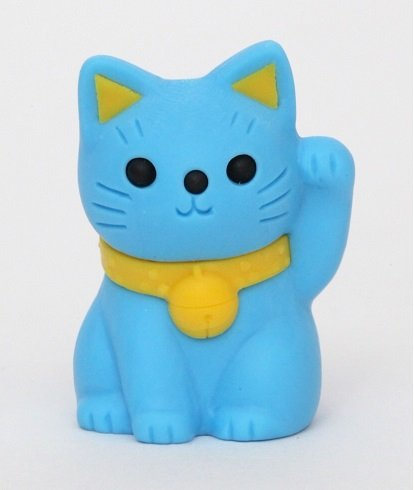 iwako Lucky Cat Bleistift Top - blaue japanische Radiergummi aus Japan