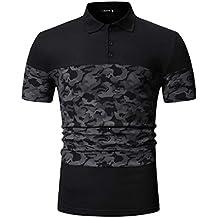 06d7cb42116 TIFIY Polo Homme T-Shirt Manches Courtes Camouflage Patchwork Couleur  Personnalité Casual Slim Fit Mode