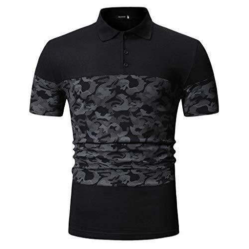 ommer Camouflage Button Patchwork Kurzarm T-Shirt Top Bluse(Medium,Schwarz) ()