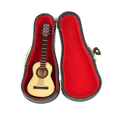 Miniatur-Modell Gitarre aus Holz mit Ständer und Koffer, Mini-Musikinstrument, für Miniatur Puppenhaus, Modell, Heimdekoration