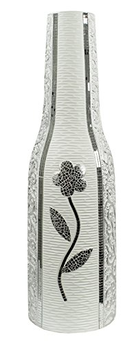 Flourish Tall Silver Floor Vase with Sparkly and Diamante Design, 60cm, Ceramic, White, 19 x 19 x 60 cm