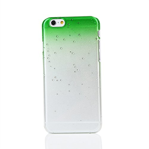 "Kit Me Out UK Hard Clip-on Case for Apple iPhone 6 / 6S 4.7"" Inch - Green / Clear Transparent Raindrops Water Effect Grün / Transparent Transparente Regentropfen"