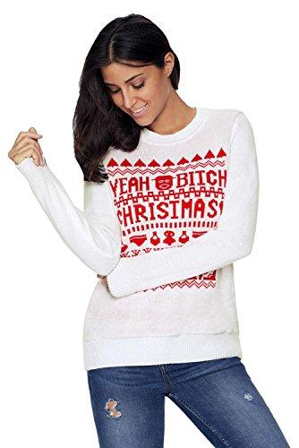 Pullover lavorato a maglia da donna YEAH BITCH CHRISTMAS Sweater Bianca