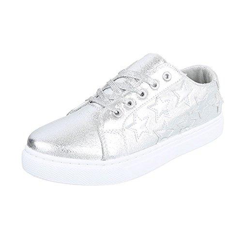 Low-Top Sneaker Damenschuhe Low-Top Sneakers Schnürsenkel Ital-Design Freizeitschuhe Silber