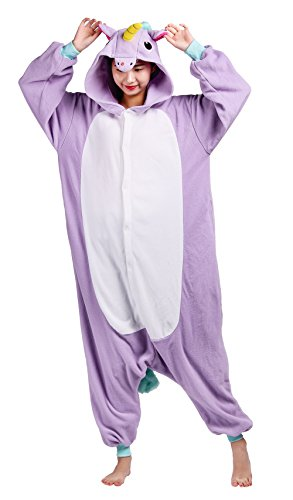 Wamvp Animal Costume Cosplay Combinaison Pyjama Adulte Unisexe Kigurumi Halloween Noel Party -Violet S