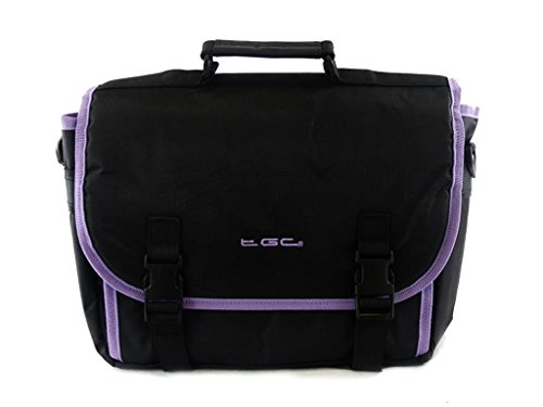 New TGC    Messenger Style TGC Padded Carry Case Bag for The DBPOWER 9 5 Inch Portable DVD Player  Jet Black with Purple Trims