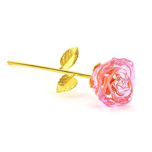 zjchao Glas Rose Blume, 24K vergoldet Langer Stiel Künstliche Rose Blume Valentines Geschenk für Jahrestag Geburtstag, Glas, Rose, 11 (24k Rose Bouquet)