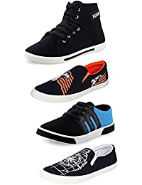 Hotstyle Men's Perfect Combo Pack Of 4 Black Casual Sneakers Shoes And Loafer Shoes For Men