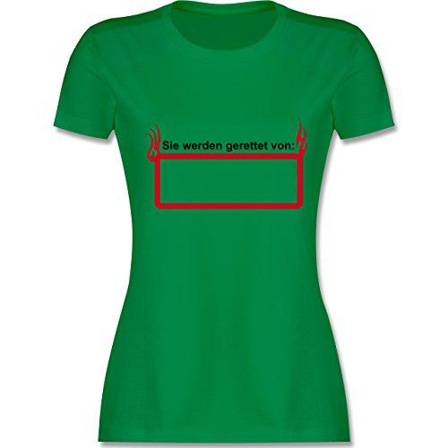 Feuerwehr - Sie werden gerette von - tailliertes Premium T-Shirt mit Rundhalsausschnitt für Damen Grün