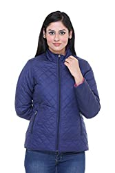 Trufit Full Sleeves Solid Womens Reversible Ink Blue-Pink Polyester Bomber Jacket