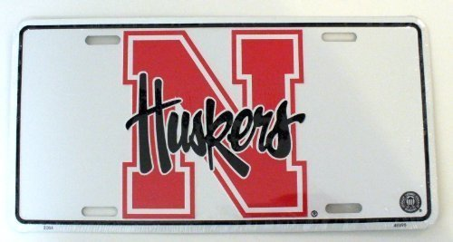 Nebraska Corn Huskers NCAA Tin License Plate by Columbus Novelties