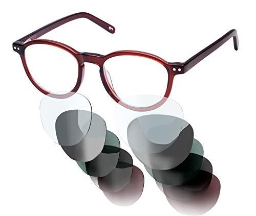 Sym Sehbrille aus Acetat mit HD Gläsern und wählbarer Sehstärke (von -4.00 bis +4.00)   Modell 04   Crystal Medium Brown   High Gloss