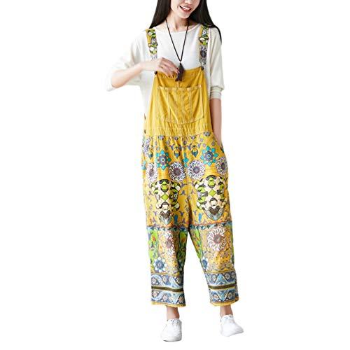 Latzhose Weites Bein Drucken Große Größen Overalls Latzjeans Strampler Jeans Boyfriend Loose Fit Mutterschaft übergroße Jumpsuits Hose 14# Gelb ()