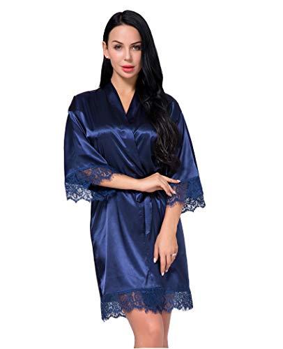 Nachtwäsche Damen Morgenmantel Kimono Robe Satin Kurze Bademantel Mit Spitze Für Frauen (Marine, 3XL) -