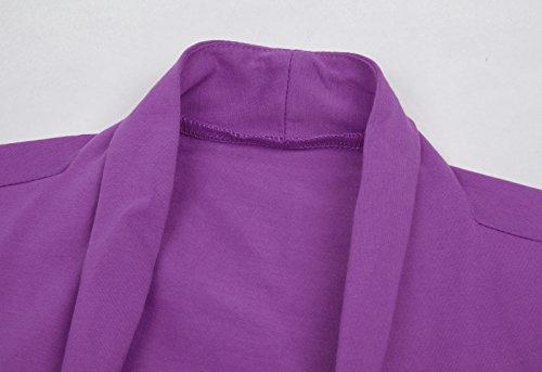 Cardigan corsé féminin Shrug à manches courtes Bolero en coton 215 # Violet
