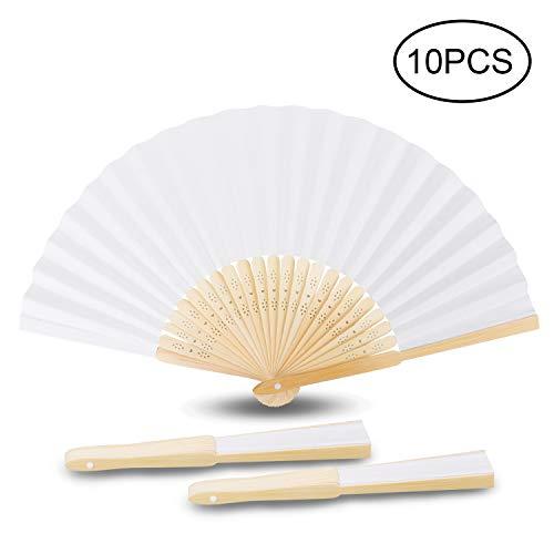 Abanicos de Bambú, Samione Abanicos Blancos Plegables de Papel con Bolsa Portátil...