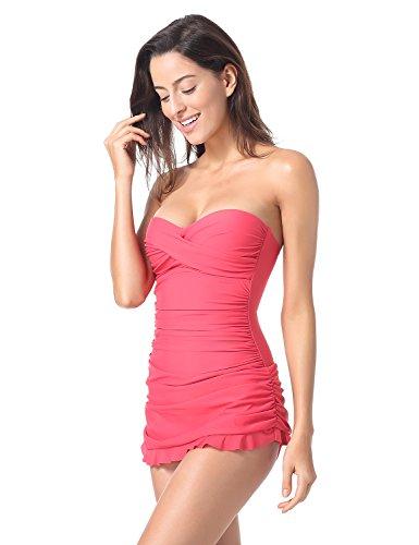 Dobreva Damen Bandeau Bademode - Einteiler Halfter Slim Badeanzug Mit Röckchen Hot Pink 38 (Hot Pink Bademode)